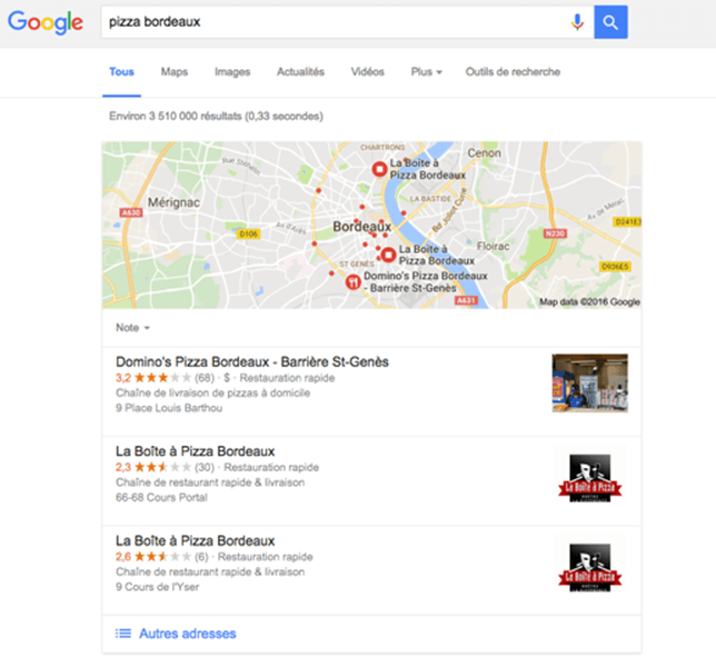 résultat SEO local