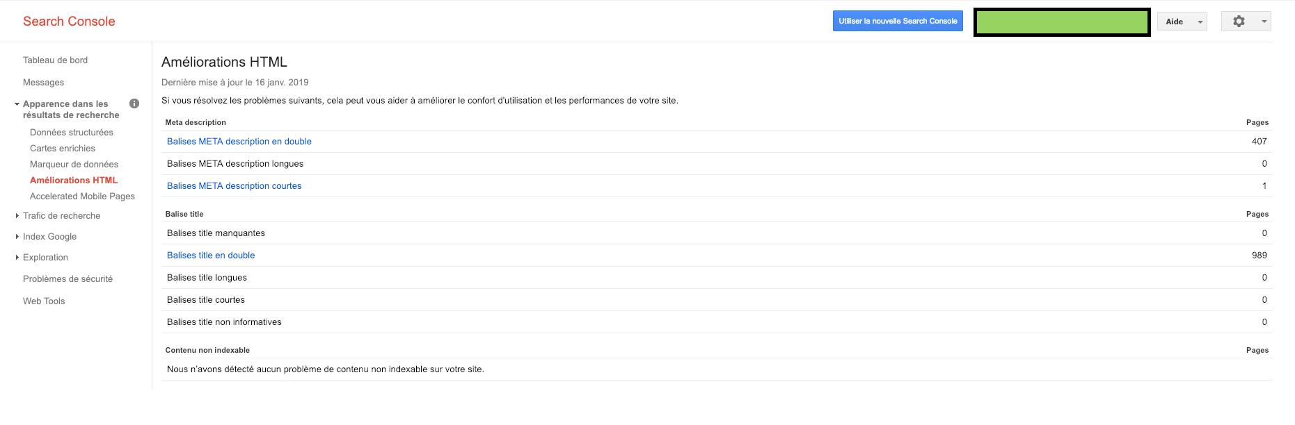 Balises titres et descriptions en double dans la search console de Google
