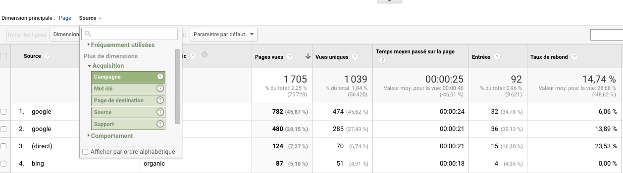 Rapport Google analytics source support pour une page.