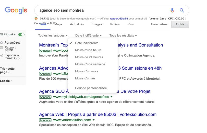 Nouvelle syntaxe google avant après via outil