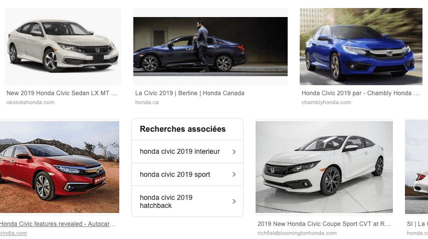 Lien stextuels presents dans la recherche d'image sur Honda civic 2019