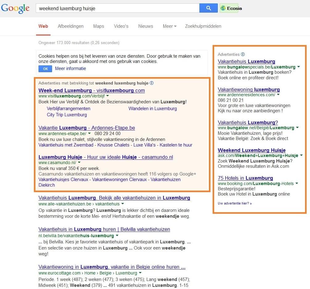 Affichage des publicités Google Adwords avant 2016