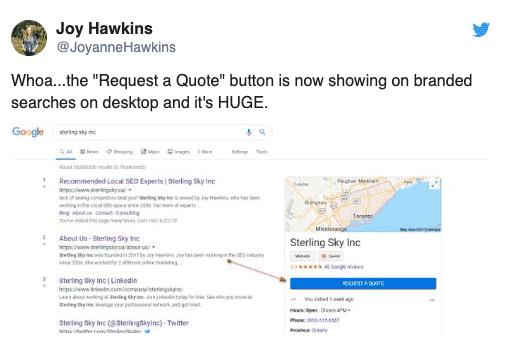 Google ajoute un bouton demander une soumission dans les fiches google my business