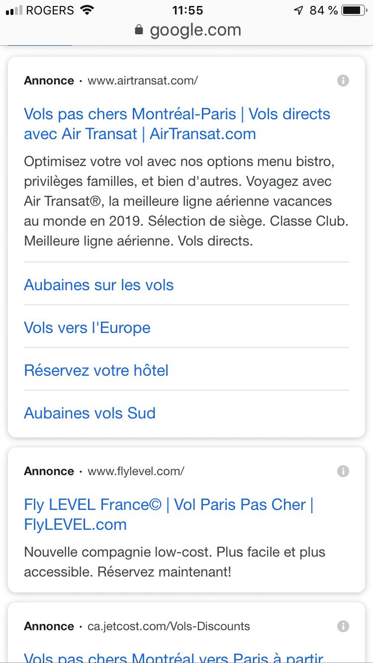 Publicité Google ADS sur mobile en 2019