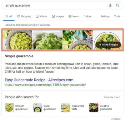 Résultat Google Featured snippet