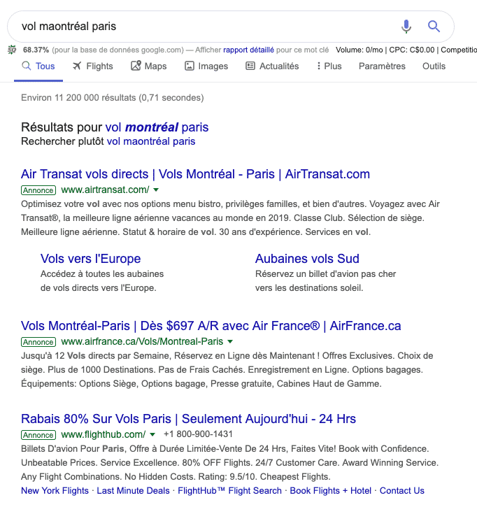 Résultat publicité google ADS sur desktop en 2019