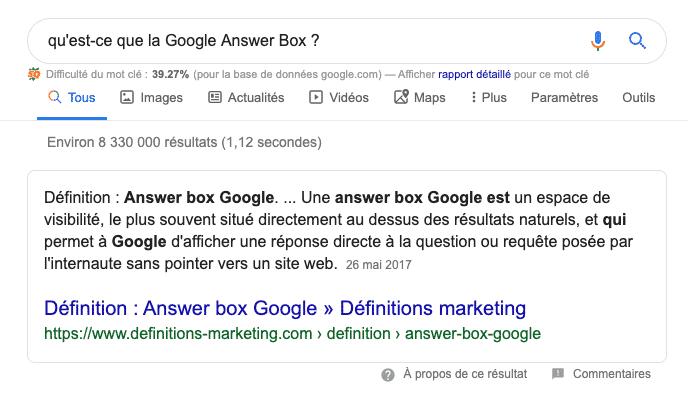 Exemple d'une Google Answer Box ou Position 0 dans Google