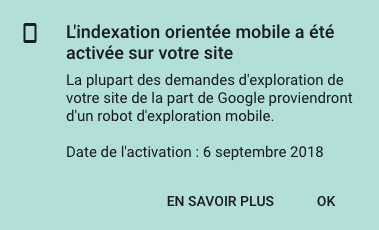 Mobile-First Google message dans la search console sur l'état d'indexation d'un site WEB.