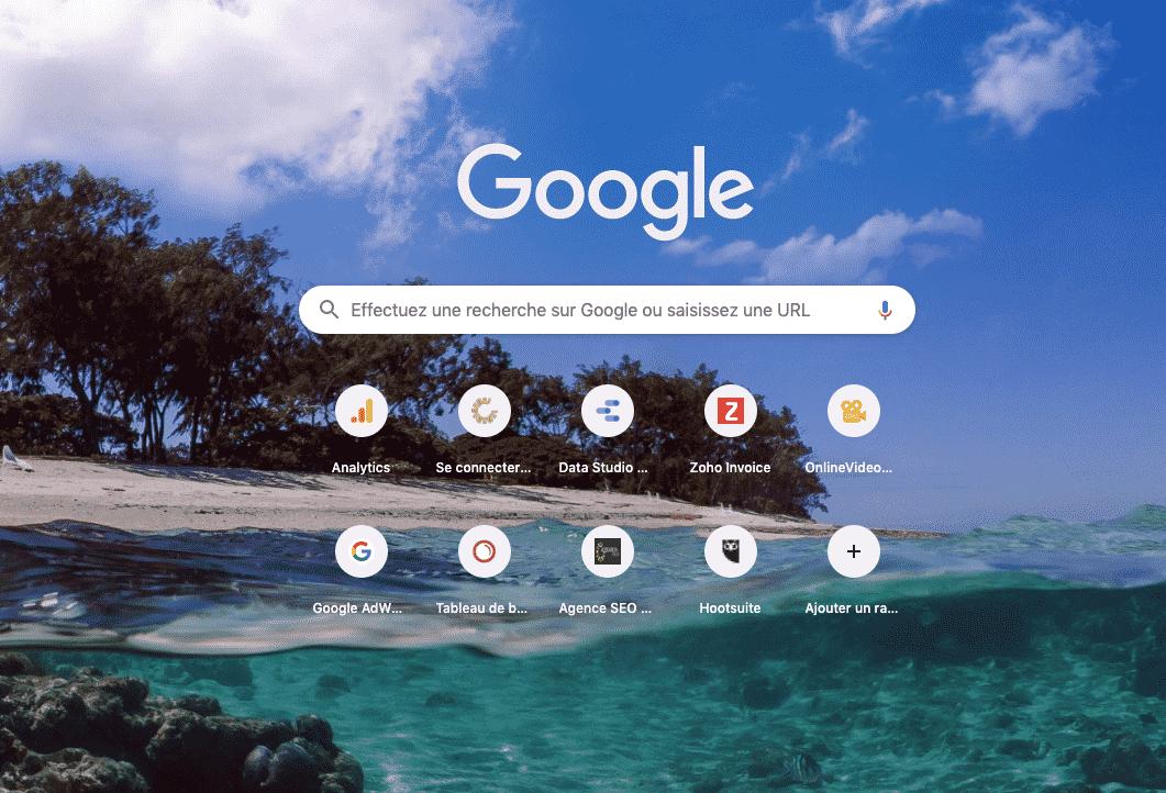 Possibilité de changer le fond d'écran de Google Chrome