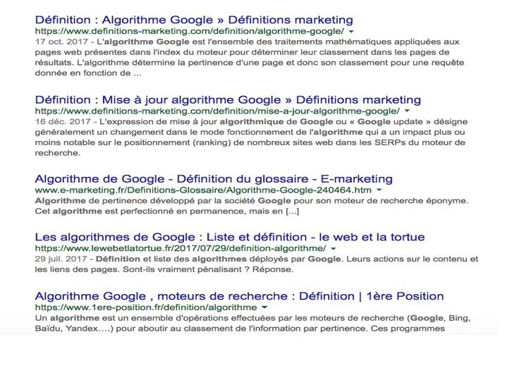 Affichage des résultats d'une page sur Google avant janvier 2020