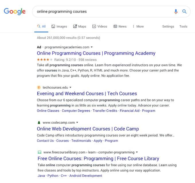 Nouvel affichage des pages de résultats de Google