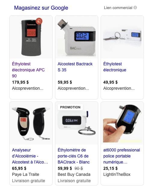 6 produits affichés dans google shopping