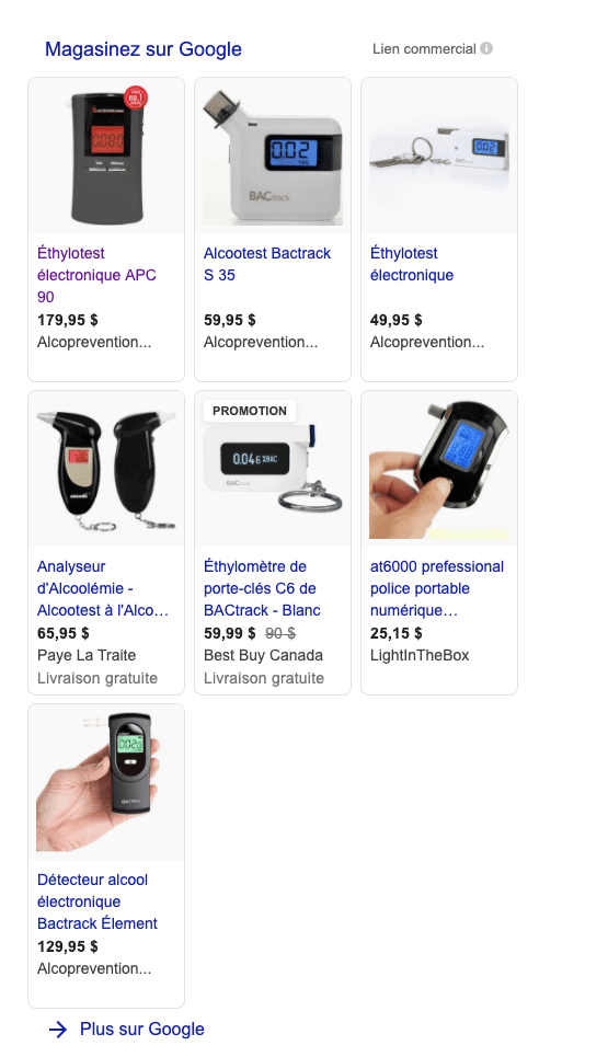 Exemple fiches produits Google Shopping