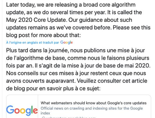Mise à jour Core Update de Google mai 2020