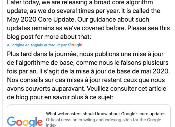 Mise a jour Google Core Update mai 2020