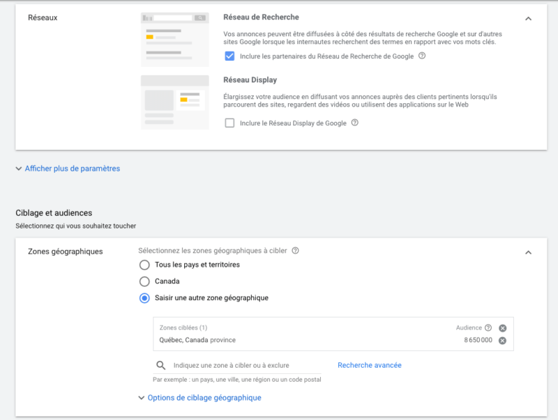 Google Ads comment créer une campagne réseau de recherche