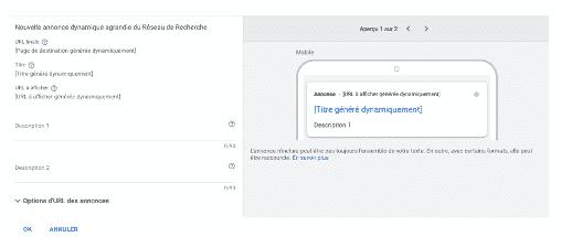 interface création annonce dynamique google ads